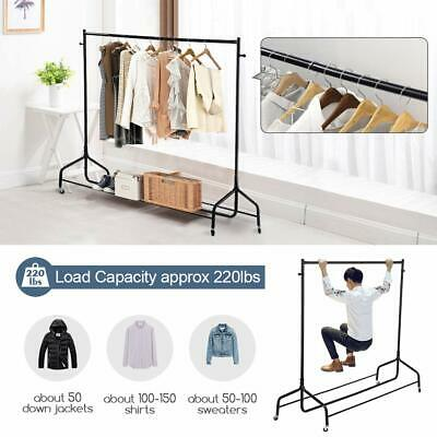 6FT Heavy Duty Hanging Clothes Garment Rail with Shoe Rack Shelf Mobile Stand UK