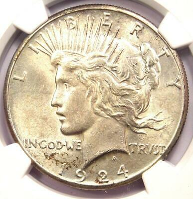 1924-S Peace Silver Dollar $1 - NGC Uncirculated Detail - Rare Date MS UNC Coin