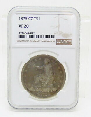 1875 CC Carson City Trade $1 Dollar Silver Coin Certified NGC VF20 ~ Free Ship