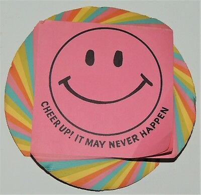 Rare 1970s SMILEY FACE Rainbow NOTEPAD Vintage Classic Memo Sheets CHEER UP!