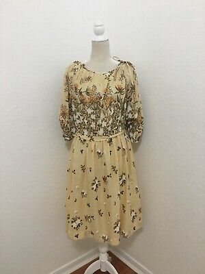 Vintage 1970's 1980's Women's Cream Brown Butterfly Flower Print Dress