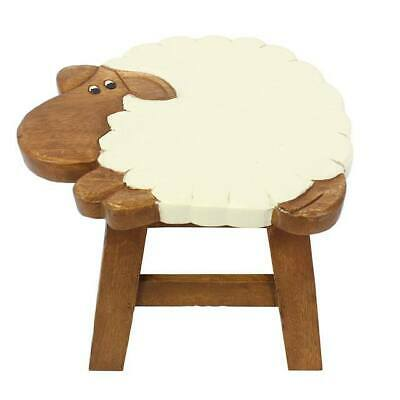 New Childrens Sheep Stool Hand Carved Lamb Solid Wood Wooden Nursery Kids Room