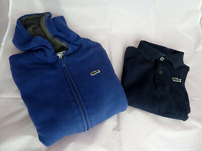 Girls Blue Lacoste Sport Hoodie + Short Sleeve Polo T-Shirt Age 10 Years