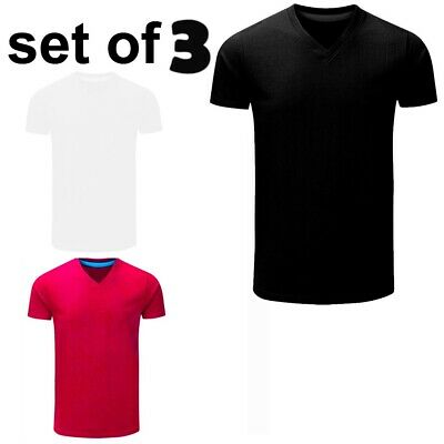 XXR Mens V neck Shirt Short Sleeve Plain Pique Pack of 3 cotton T Shirt Tee Fit