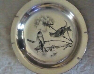 """Sterling Silver 8""""  collectors Gold Finches 1972 National Audubon Society #804"""