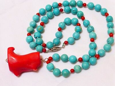 Vintage Coral, Turquoise Beaded Necklace Pendant, Sterling Clasp