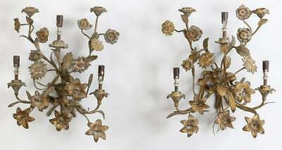 Antique French Gilt Bronze Floral Wall Scones 19 c Modified