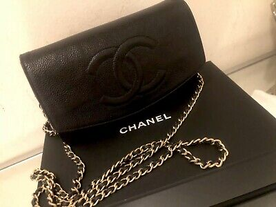 100% AUTHENTIC PreOwned CHANEL BLACK & Gold CHAIN Wallet CAVIAR LEATHER BAG