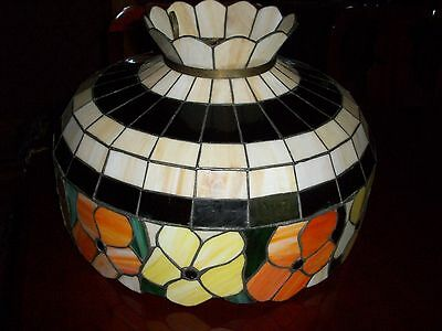 Vintage Tiffany Style STAINED GLASS HANGING PENDANT Light Fixture or LAMP SHADE