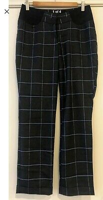 ASOS Maternity Pants Trousers Size 10 Grey Winter Corporate Blue Check Iconic