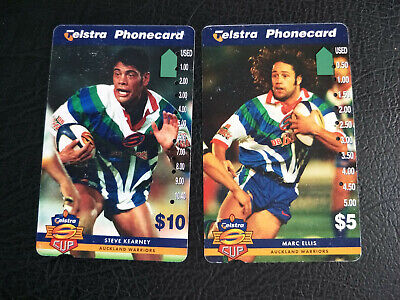 2 Used Auckland Warriors 1997 Super League Phonecards Prefix 1506&1508, Scuffed