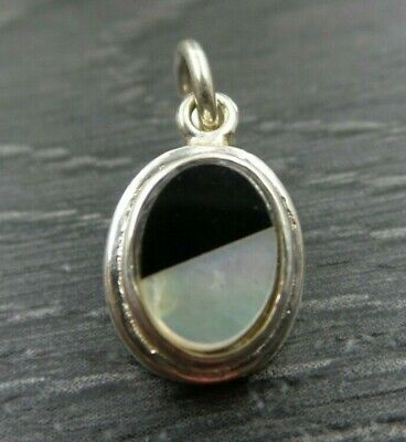 Vintage Sterling Silver Small Mother Of Pearl Onyx Oval Pendant Charm