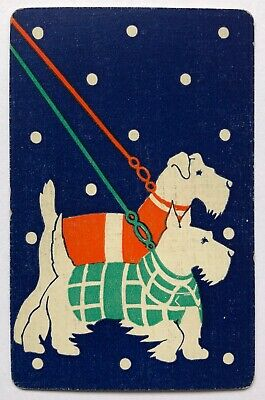 Vintage Swap/Playing Card - DOGS ON LEAD - PALS - Navy Blue Background