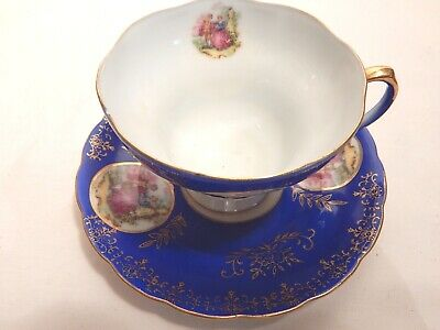 Royal Sealy China Japan Footed Tea Cup and Saucer Courting Couple Royal Blue