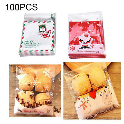 100× Self-Adhesive Christmas Cookie Candy Packaging Bag Baking Snack Pouch Funny