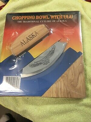 Alaska Ulu Knife Set- With Curved Blade Wood Handle With Chopping Block