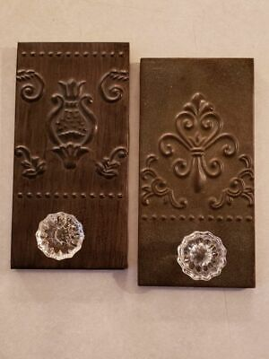 2 metal wrapped plaques with glass doorknobs,  wall art, hooks, home decor