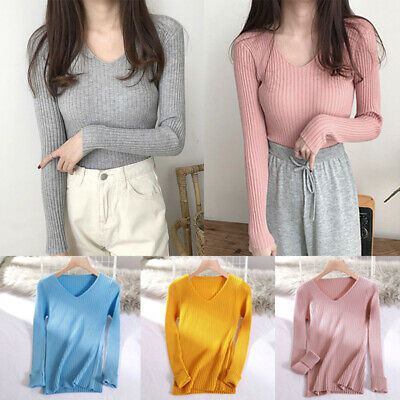 Womens Knitted Basic Pullover Sweater Casual Long Sleeve V Neck Pullover Winter