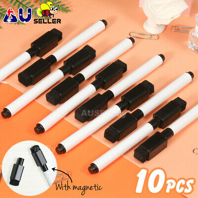 Dry Wipe Whiteboard Marker Pens Medium Point + Magnetic Eraser Lid AU