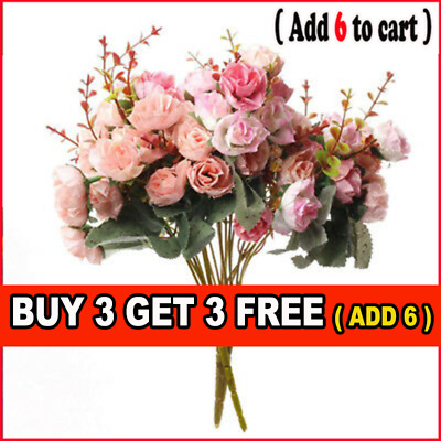 21HEADS ARTIFICIAL SILK FAKE FLOWERS ROSE BUNCH Wedding Party Home Decor G