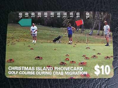 Used $10 Christmas Island Golf Course During Crab Migration Phonecard Prefix 553