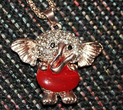 New Cute Shiny Gold Color Metal Chain Red Elephant Necklace Pendant Rhinestones