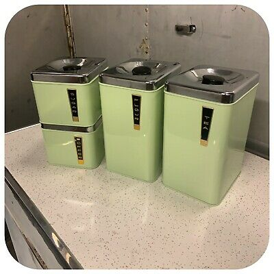 Vintage Mid Century Lincoln Beautyware Canister Set Mint Green Jadeite