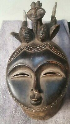 """Antique, Museum guality African Wood Tribal Mask, 19"""""""