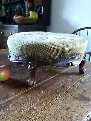 A Lovely Victorian Hardwood Tapestry Footstool Upholstery Project