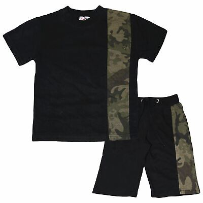 Kids Boys T Shirt Shorts Camouflage Green Contrast Panelled Top Summer Short Set