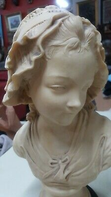 """Antique/Vtg 16"""" Bust Victorian Lady With Hat Sculpture Statue Heavy Cast Marble"""