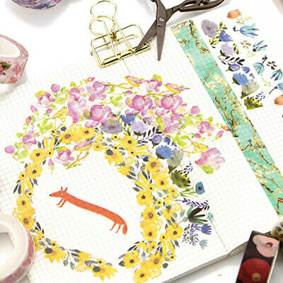 Planner Diary Floral Washi Stickers DIY Decor Roll Paper Masking Tape Crafts