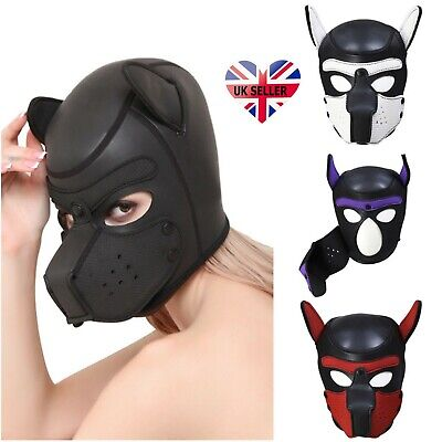 Padded Soft Rubber Neoprene Puppy Role Play Dog Cosplay Full Head Mask with Ears