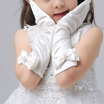 Kids Long Gloves Bow Knot Girls Prom Finger Satin Elbow Princess Costume Sl S4M1