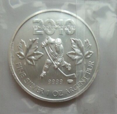 2010 Canadian Maple - Vancouver Olympics Ice Hockey - 1 Oz .999 Fine Silver Coin