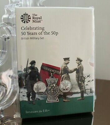 2019 50 Years Of The 50P Uk Fifty Pence Uncirculated Bu Military  Five Coin Set