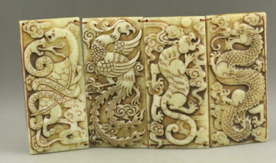 Collection of old jade brands hand-carved in China's four great beast designs