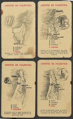 Judaica Argentina 4 Rare Old Quartet Playing Game Cards Palestine's Mountains