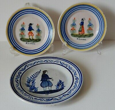 Three old little plates, HR Quimper, France