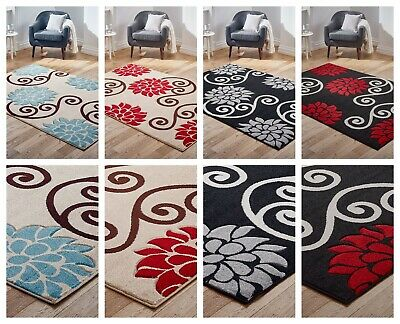 Modern Quality New Wine Multi colored Floral design Budget Rug Clearance Sale