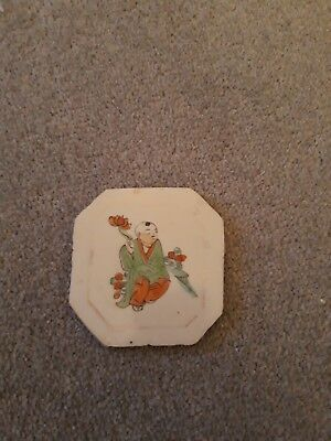 Octagonal Antique Chinese White Tile With Painting of Chinese Man