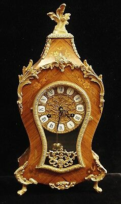 Price Cut Table Clock Hermle, Wooden Housing with Inlaid, Bronze, 46,5 CM