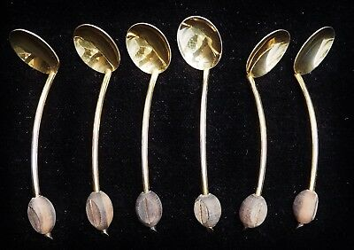6 Art Deco Mocca Spoon Cream Silver 800, Coffee Bean, Vienna from 1922, Box