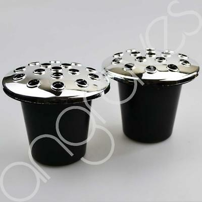 Set of 2 Grave Vases And Lids (Black With Silver Lids) For Fresh and Artifical F