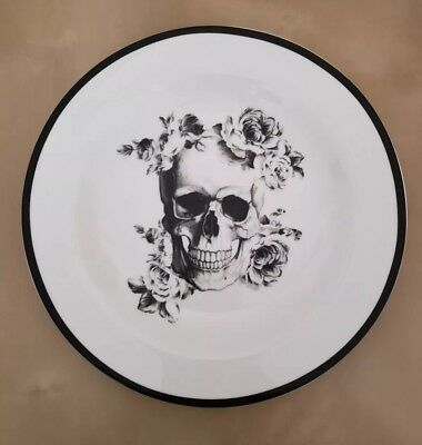 BRAND NEW (4) Ciroa Halloween Floral Skull Dinner Plates Fine China Home Decor