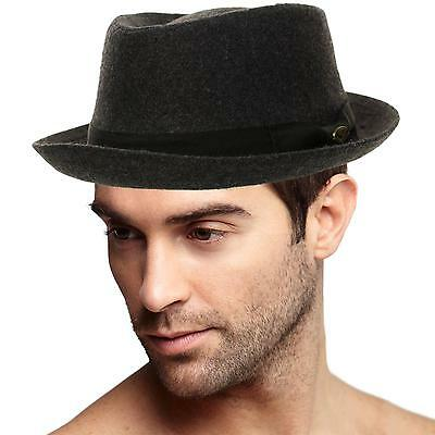 Men's Winter 100% Wool Porkpie Derby Fedora Trilby Ribbon Solid Hat