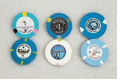 Lot of Las Vegas Casino $1 Chips from 6 Different Casinos Free shipping