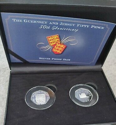 Jersey and Guernsey celebrate the 50th Anniversary of the 50p silver proof pair