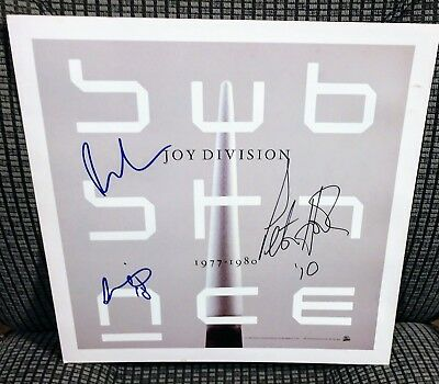 JOY DIVISION Signed Substance Promo 12x12 Poster by All 3 Living Members.