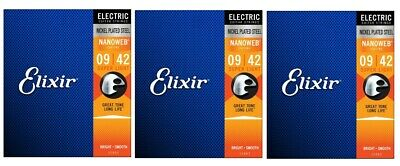 Elixir 12002 Nanoweb Coated Electric Guitar Strings Super Light 9-42 (3-Pack)